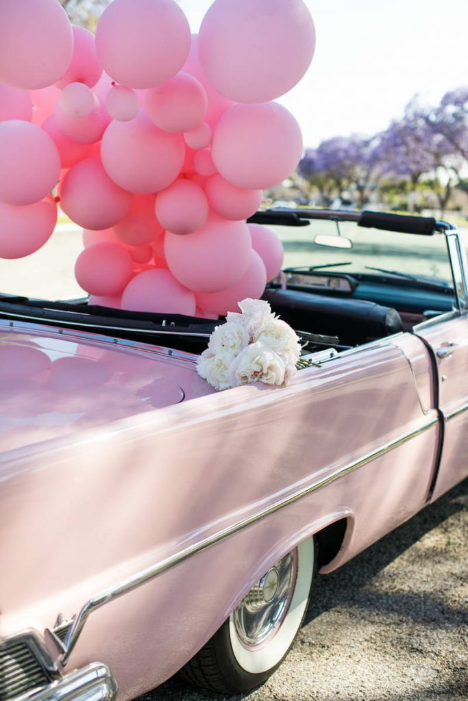 Pink Car with Flowers and Pink Balloons
